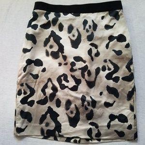 Ann Taylor silk blend pencil skirt animal print 8P